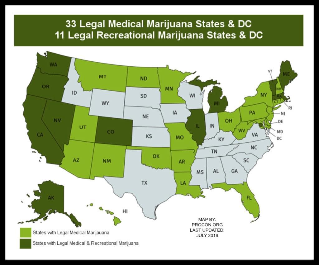 legal marijuana states 2019