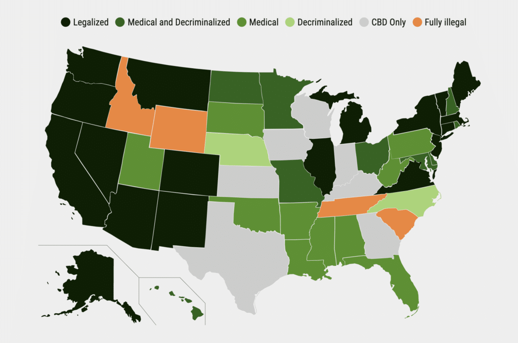 Legal Marijuana Map 2021