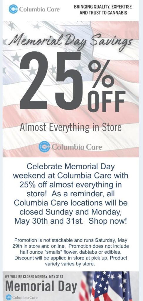 Columbia Care Memorial Day 2