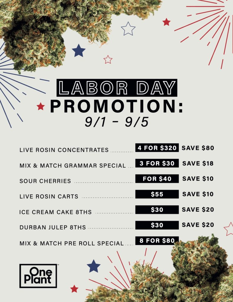 One Plant Labor Day Specials Flyer